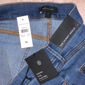 Ann Taylor Skinny Mid Rise Ruffle Bottomed Jeans
